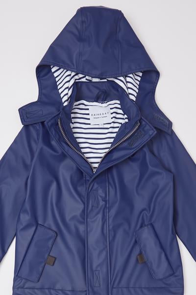 Stripy Sailor Rainkoat - Ink Navy