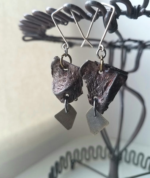 Earthy Leather and Metal Earrings