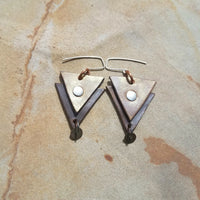 Gold and Brown Geometric Leather Earrings