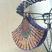 Colorful Textile and Leather Earrings