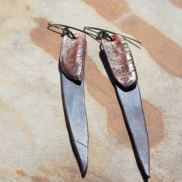 Long Gold and Brown Leather Earrings