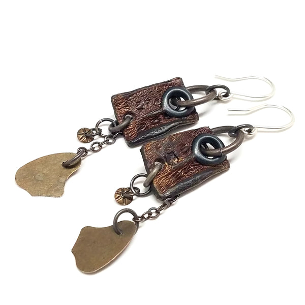 Crocodile Leather and Metal Earrings