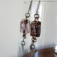 Brown Textural Leather and Metal Earrings