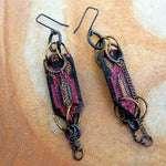 Modern Textile and Leather Earrings
