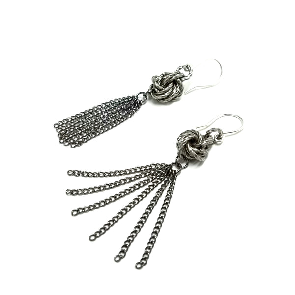 Chainmail Love Knot with Tassel Metal Earrings