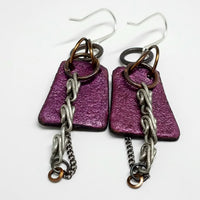 Earthy Brown Leather and Metal Earrings
