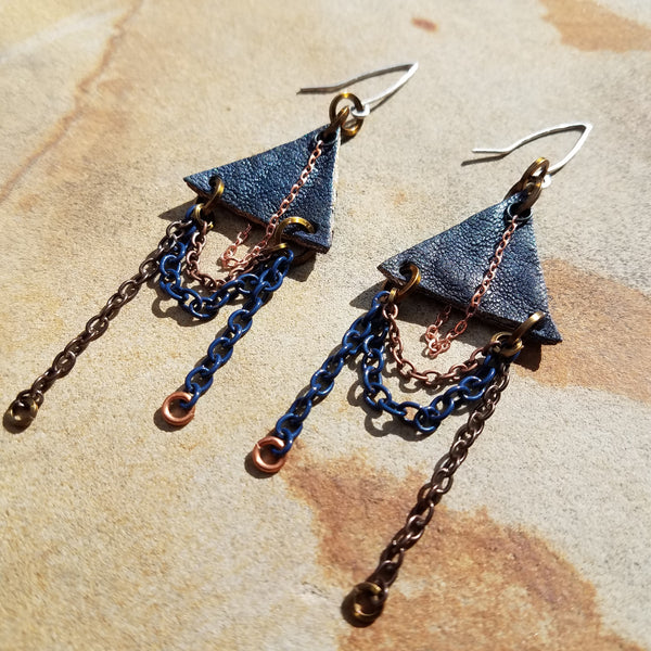 Navy Blue Leather Chandelier Earrings