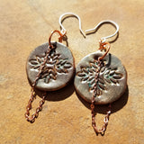 Stamped Leather Earrings with Copper Chain