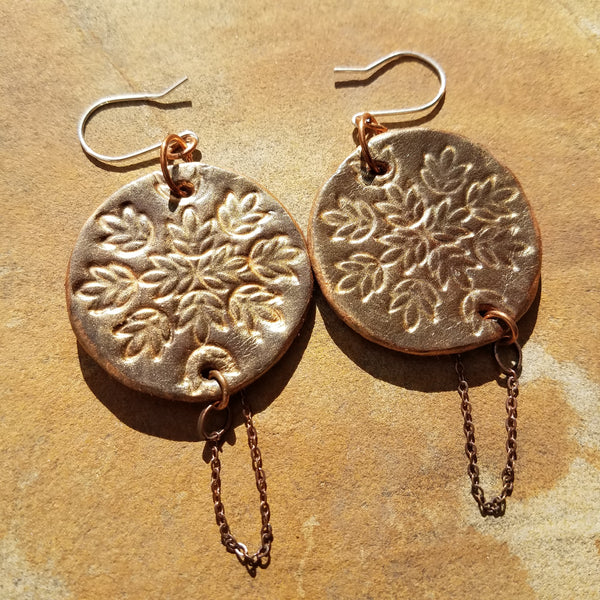 Hand Painted Stamped Leather Earrings