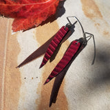 Red Snakeskin and Brown Leather Earrings