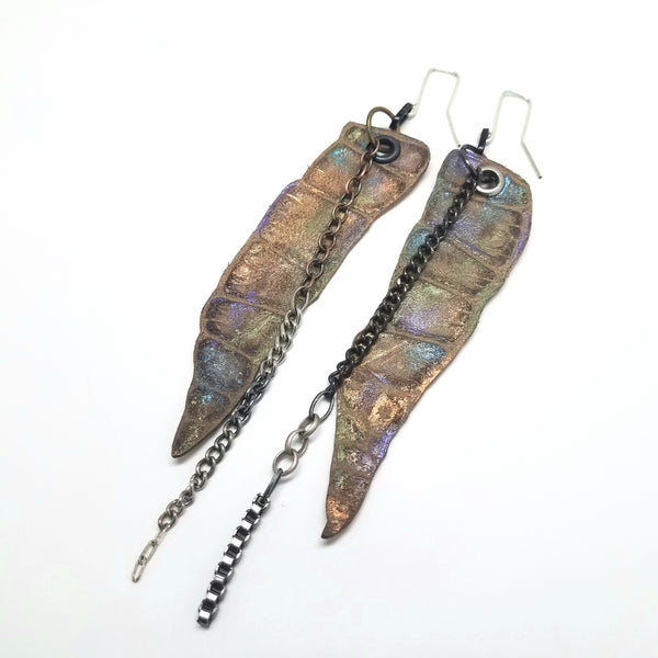 Long Metallic Reptile Leather Earrings