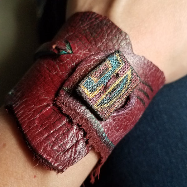 Burgundy Leather Cuff Bracelet