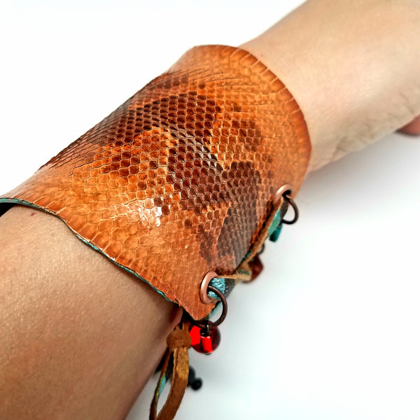 Brown Snakeskin Adjustable Cuff Bracelet