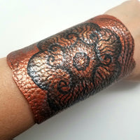 Hand Painted Copper Leather Cuff Bracelet