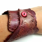 Stamped Burgundy Leather Cuff Bracelet