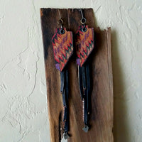Long Colorful Textile and Leather Earrings