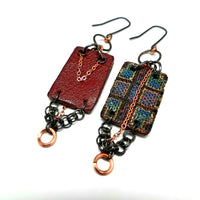 Plaid Textile and Leather Earrings