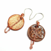 Stamped Leather Earrings with Copper Patina