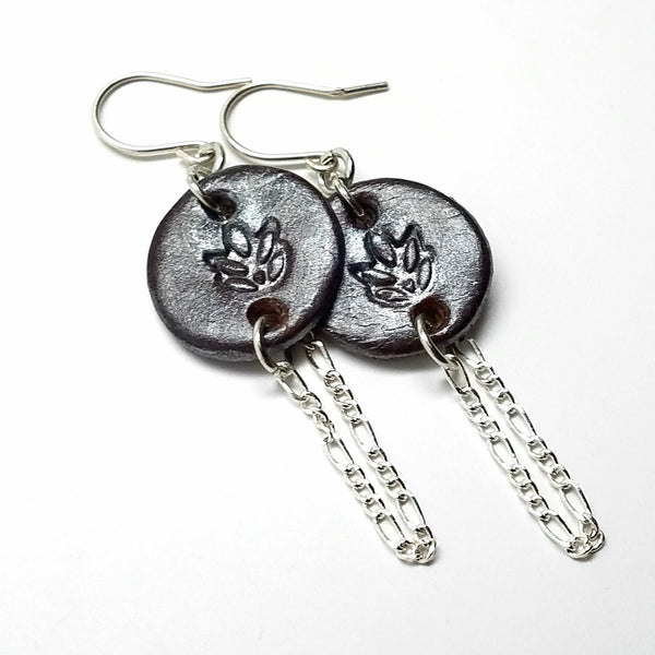 Elegant Stamped Leather Earrings