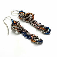 Chain Mail Love Knot Earrings with Chain Dangles