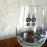 Antique Silver Double Love Knot Earrings
