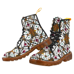 Women's Marten Style Military Boot-ABSTRACT MULTI COLOR HONEY BEE and RIBS PATTERN-Color White
