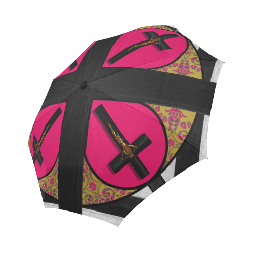 Crucifix- Fashion Umbrella- Custom Umbrella-Gothic Chic Umbrella in Pink- Bold Fuchsia- Bright Pink