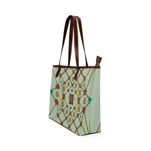 Women's Honey Bee, Ribs, Blue Star Pattern- Shoulder Tote in Color Pastel BLUE