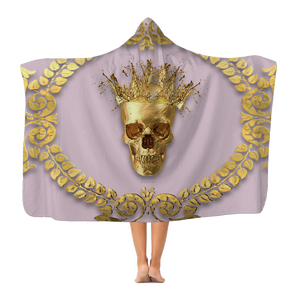 Polar Fleece Blanket-GOLD SKULL & CROWN-GOLD WREATH-Color PASTEL PINK