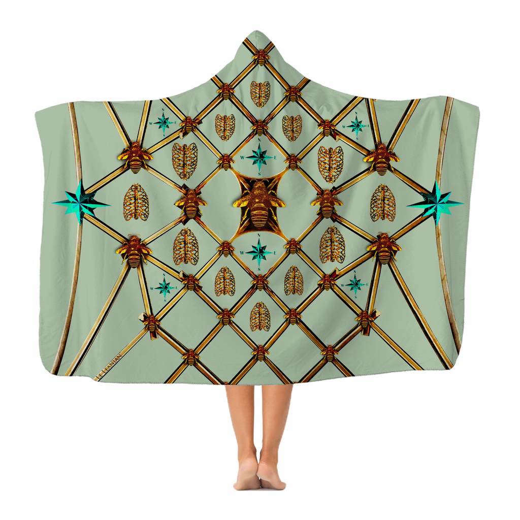 Gilded Bees & Ribs Teal Stars- Adult & Youth Hooded Fleece Blanket in Pastel | Le Leanian™
