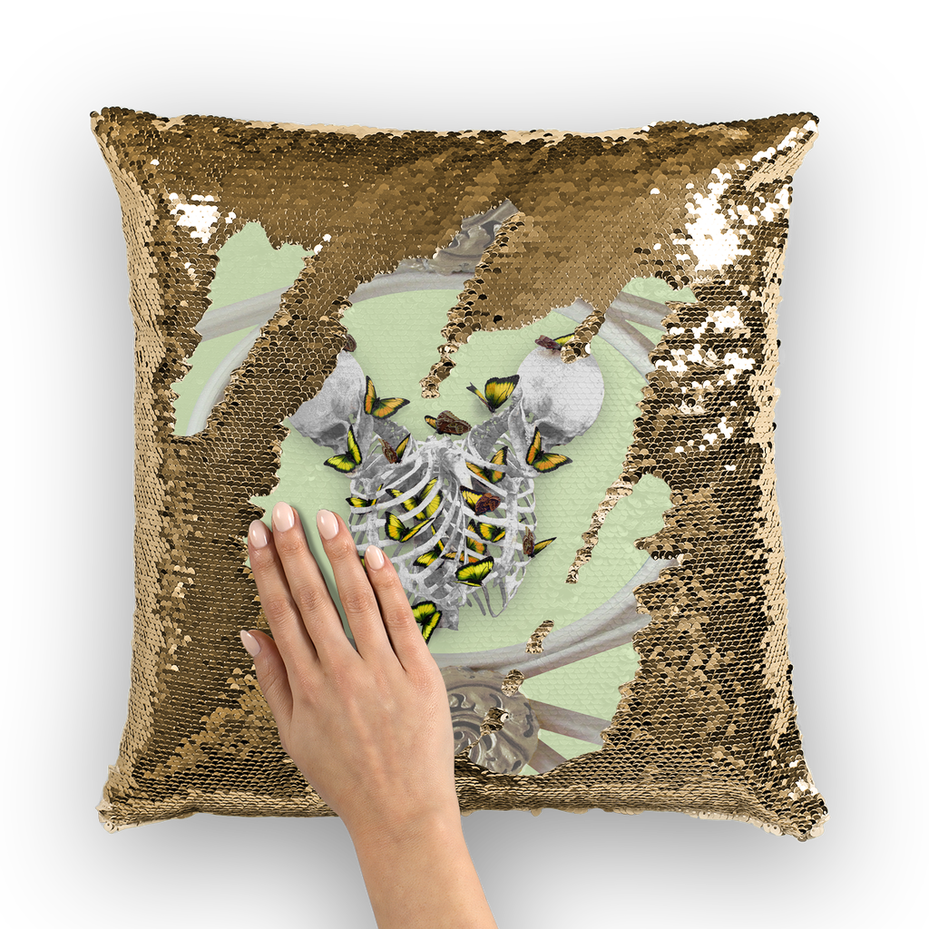 Versailles Siamese Skeletons with Gold Butterfly Rib Cage-Gold Sequin Pillowcase-Pastel Green