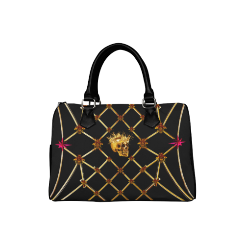 Gold Skull and Magenta Stars- Honey Bee Pattern- Classic Boston Handbag in Colors Black and Black