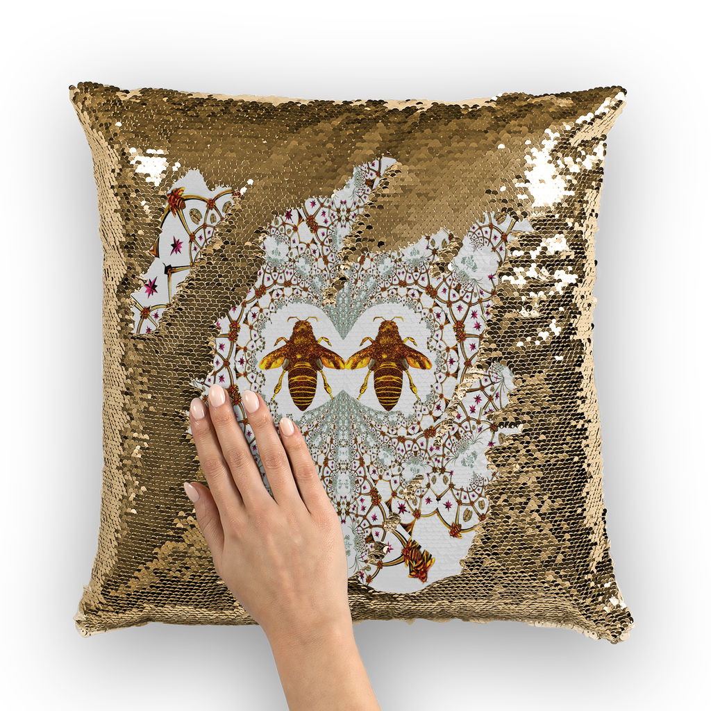 Sequin Gold & BLACK PILLOW CASE-Throw PILLOW-Baroque Bee Pattern-Color LIGHTEST GRAY, GREY