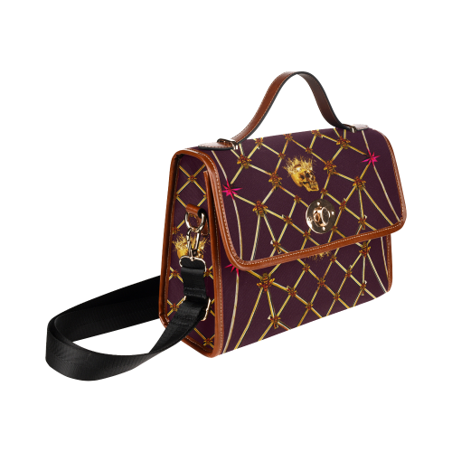 Skull & Honeycomb Mini Brief Handbag in Eggplant Wine | Le Leanian™