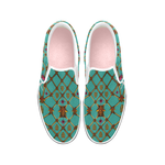 Bee Divergence  Ribs & Magenta Stars- Women's French Gothic Slip-On Sneakers in Jade | Le Leanian™