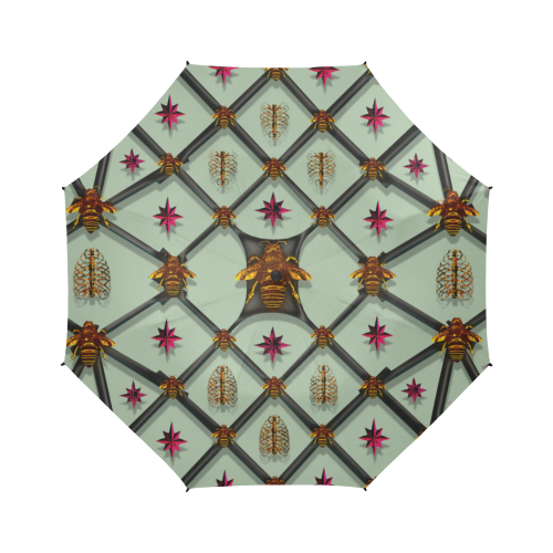 Bee Divergent Ribs & Magenta Stars- Semi Auto Foldable French Gothic Umbrella in Pastel | Le Leanian™