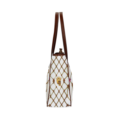 Skull & Honeycomb- Classic French Gothic Upscale Tote Bag in White | Le Leanian™