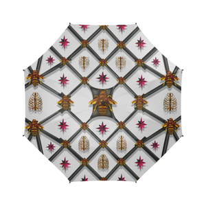 Bee Divergent Rib & Magenta Stars-Semi Auto Foldable French Gothic Umbrella in Lightest Gray | Le Leanian™