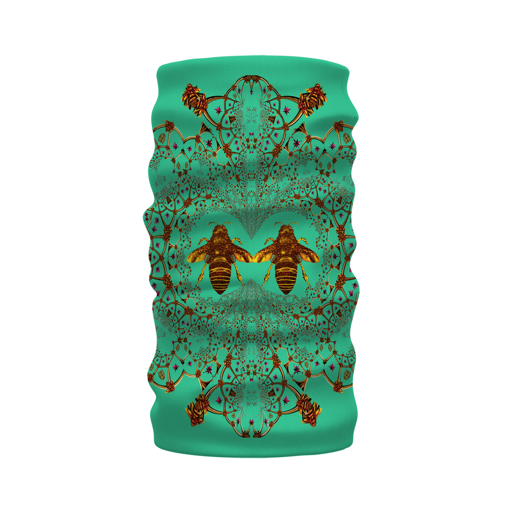 Baroque Honey Bee Extinction- French Gothic Neck Warmer- Morf Scarf in Bold Jade Teal | Le Leanian™