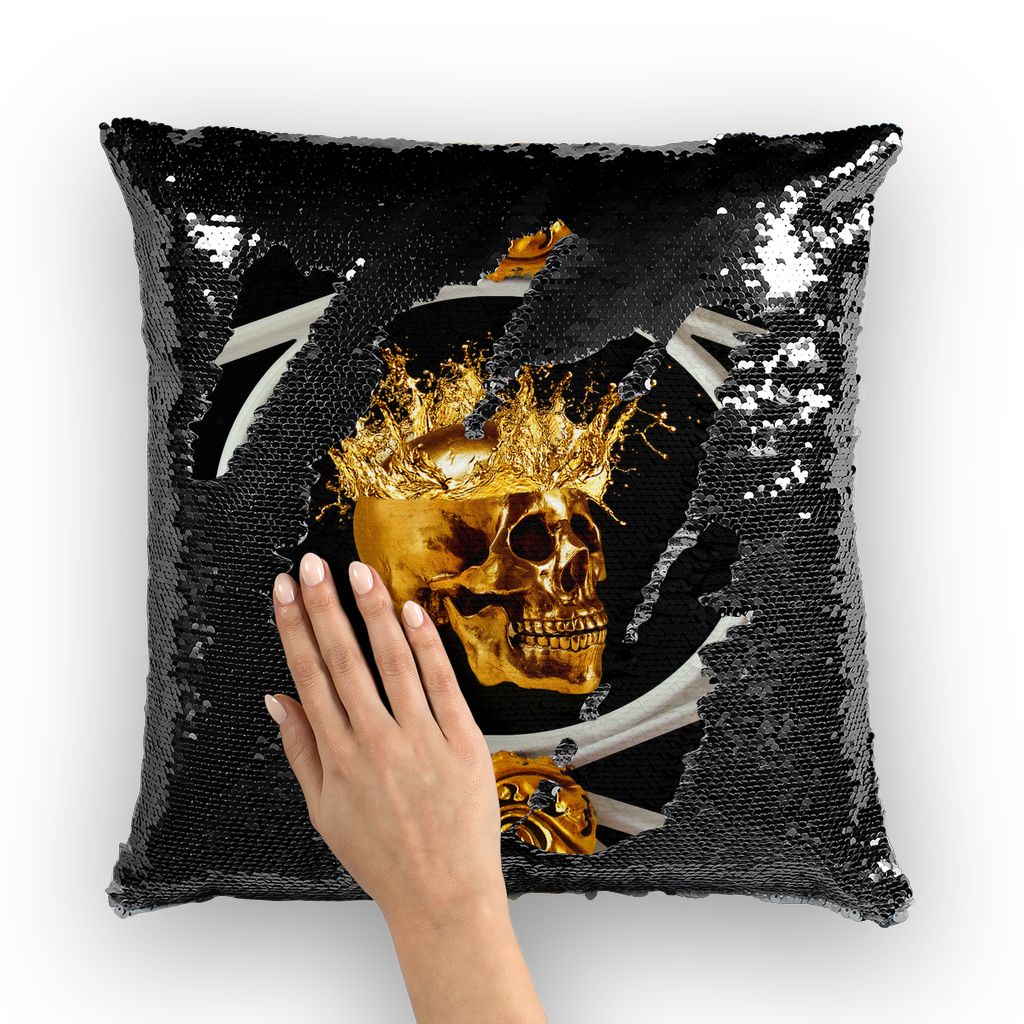 Versailles Golden Skull- French Gothic Sequin Pillowcase or Throw Pillow in Back to Black | Le Leanian™