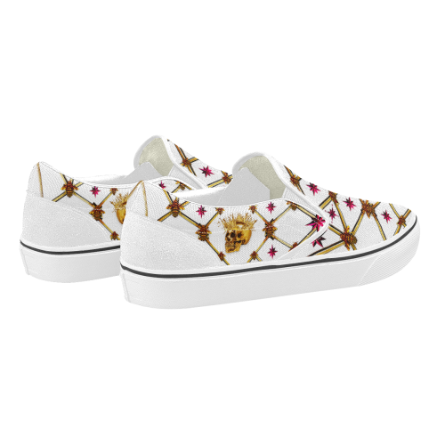 Skull & Magenta Stars- Women's French Gothic Slip-On Sneakers in White | Le Leanian™