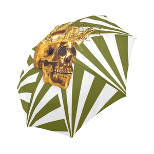 Cirque-Circus UMBRELLA-Geometric Stripes and Gold Skull-Color OLIVE GREEN
