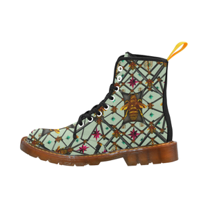 Bee Divergent Abstract- Women's Gothic Combat Style Boots in Pastel | Le Leanian™