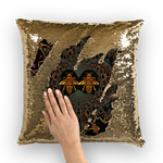 Sequin Gold French Gothic Honey Bee Pillowcase- Back to Black