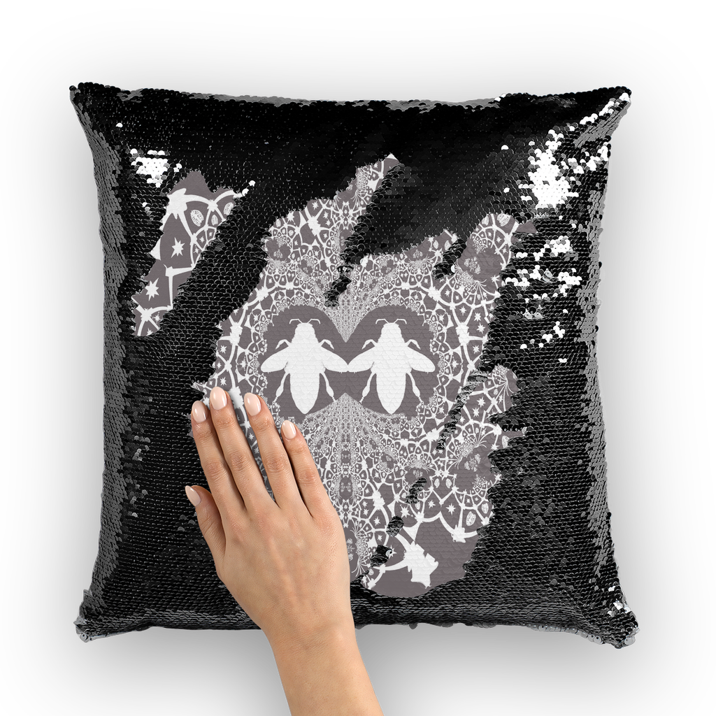 Baroque Hive Relief- French Gothic Sequin Pillowcase or Throw Pillow in Lavender Steel | Le Leanian™