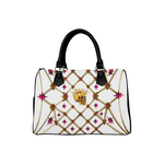 Gold Skull and Magenta Stars- Honey Bee Pattern- Classic Boston Handbag in Colors White and Black