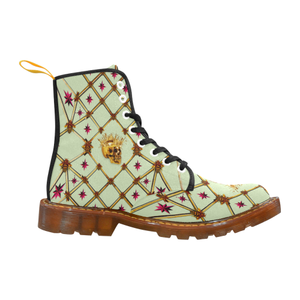Golden Skull & Magenta Stars- Women's French Gothic Combat  Boots in Pale Green | Le Leanian™