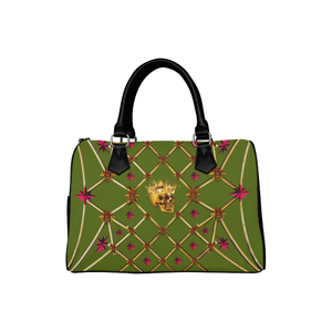 Gold Skull and Magenta Stars- Honey Bee Pattern- Classic Boston Handbag in Colors Olive Green and Black