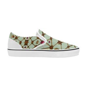 Bee Divergence Ribs & Magenta Stars- Women's French Gothic Slip-On Sneakers in Pastel | Le Leanian™