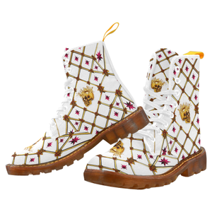 Women's Gold Skull and Magenta Stars- Marten Boots- Lace-Up Combat Boots in Color White on White